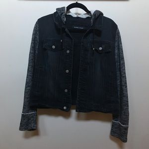 Dark Jean Jacket With Sweater Hood and Sleeves